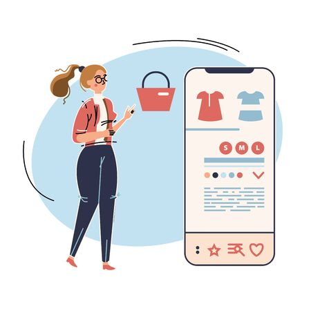 Woman is shopping via mobile application. Business vector illustration with working person. Modern flat light style