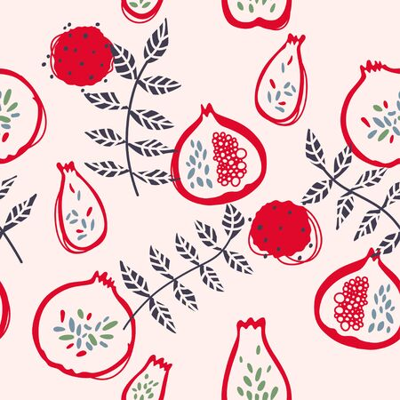 Seamless simple vector pattern with pomegranates in modern hand drawing style
