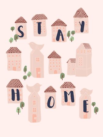 Let's stay home. Wall decoration in a simple handwritten style. Lettering with inspiring words. Covid-19. Corona and pandemic Фото со стока - 142934526