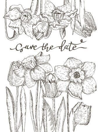 Save the date lettering. Herbal tender decoration with fresh spring flowers.