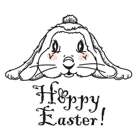 Happy Easter vector t-shirt print with lovely bunny in modern b&w style.  Text Hoppy Easter