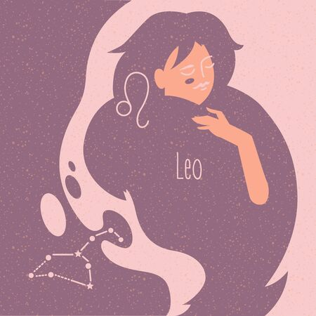 Zodiac esoteric vector sign Leo with tender mystic woman in a pink palette. Modern creative design Фото со стока - 143968288