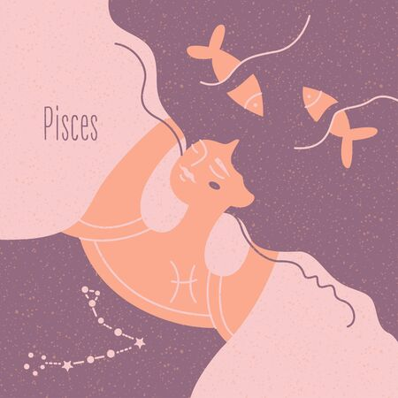 Zodiac esoteric vector sign Pisces with tender mystic woman in a pink palette. Modern creative design