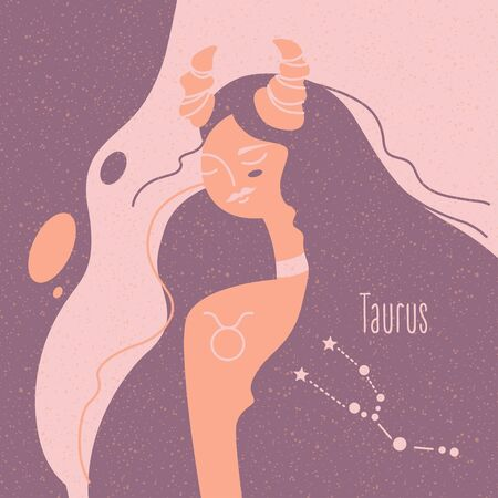Zodiac esoteric vector sign Taurus with tender mystic woman in a pink palette. Modern creative design Фото со стока - 143968293