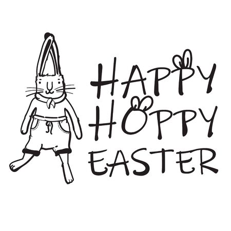 Happy Easter vector t-shirt print with lovely bunny in modern b&w style.  Hoppy Easter Фото со стока - 143963386