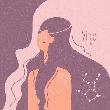Zodiac esoteric vector sign Virgo with tender mystic woman in a pink palette. Modern creative design Çizim