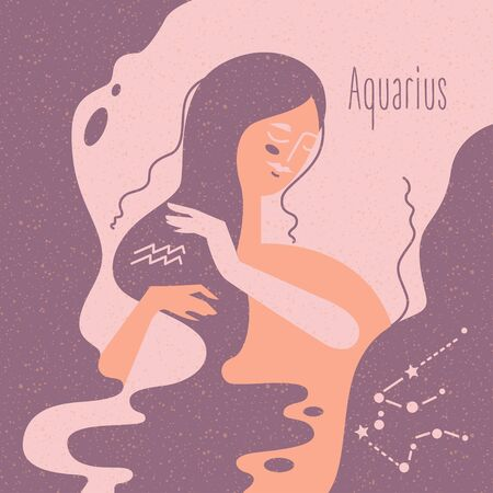 Zodiac esoteric vector sign Aquarius with tender mystic woman in a pink palette. Modern creative design