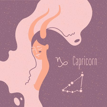Zodiac esoteric vector sign Capricorn with tender mystic woman in a pink palette. Modern creative design Çizim
