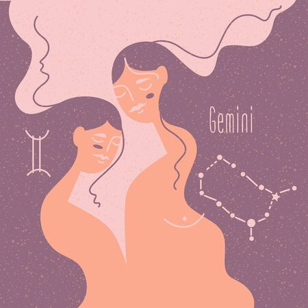Zodiac esoteric vector sign Gemini with tender mystic woman in a pink palette. Modern creative design Фото со стока - 144627360
