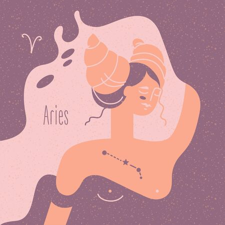 Zodiac esoteric vector sign Aries with tender mystic woman in a pink palette. Modern creative design Фото со стока - 144627362