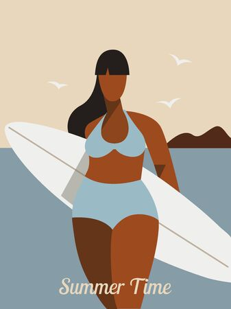 Plus size gorgeous girl with a surfboard on the hot summer beach