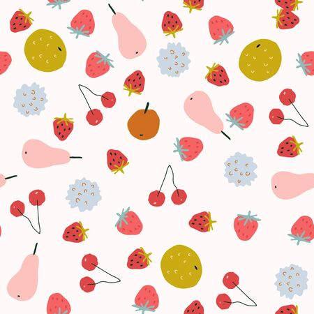 Seamless pattern with cute fruit in hand-drawn childish style Çizim