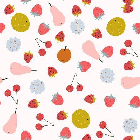 Seamless pattern with cute fruit in hand-drawn childish style 版權商用圖片 - 144627368
