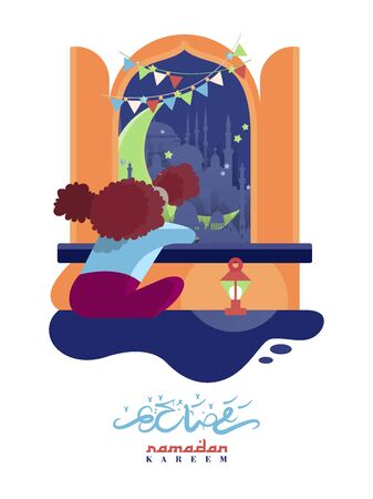Colorful vector with text in Arabic Ramadan Kareem - Blessed and happy Ramadan Фото со стока - 145780216