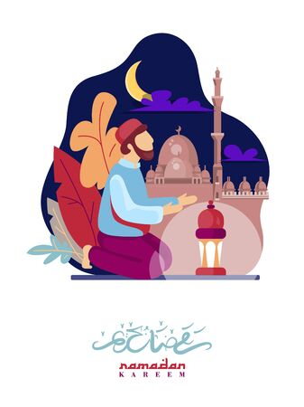 Colorful vector with text in Arabic Ramadan Kareem - Blessed and happy Ramadan Фото со стока - 145780234