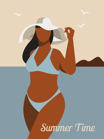 Plus size woman wearing a hat and swimsuit. Summertime Иллюстрация