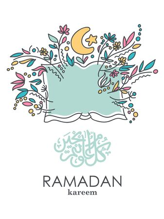 Colorful vector with text in Arabic Ramadan Kareem - Blessed and happy Ramadan Фото со стока - 146226218
