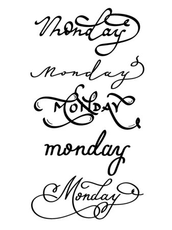 Lettering with the handwritten word Monday on isolated white background 版權商用圖片 - 146622996