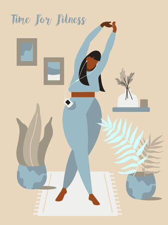 Plus size xl woman does sport. Fitness and yoga Ilustración de vector