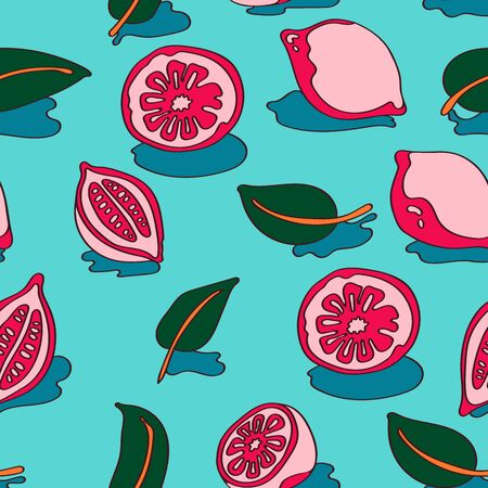 Fruit seamless pattern with cute lemons and slices in vintage style 版權商用圖片 - 146623002