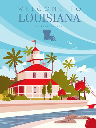 Travel postcard from Louisiana, the pelican state. Vector illustration with southern sightseeing Фото со стока - 147667140
