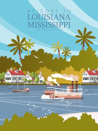 Travel postcard from Louisiana, the pelican state. Vector illustration with a steamboat and Mississippi river Çizim