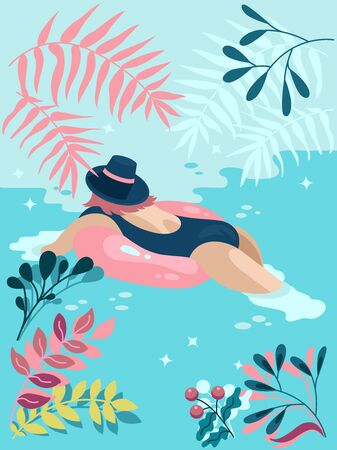 Woman is relaxing and swimming in a beautiful warm ocean. Modern colorful poster in flat design