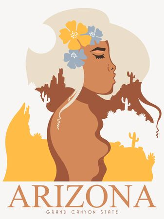 Colorful touristic poster with a beautiful girl as a symbol of Arizona state. US state on a postcard Фото со стока - 148154004