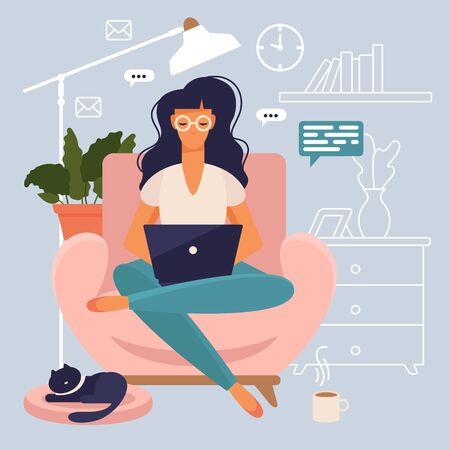 Freelancer at work. Woman is working on a sofa at home with her laptop. Flat style