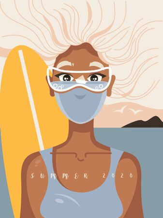 Summer relax with protection against COVID-19. Summertime during coronavirus pandemic