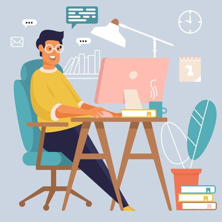 Freelancer at work. Man is working in his office. Flat style Иллюстрация