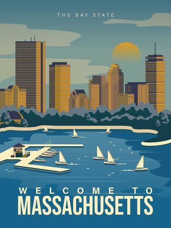 Massachusetts is on a tourist poster. Vintage lighthouse. The east state of the US. Boston area. Printable card for tourists in vintage and retro style Фото со стока - 148694548