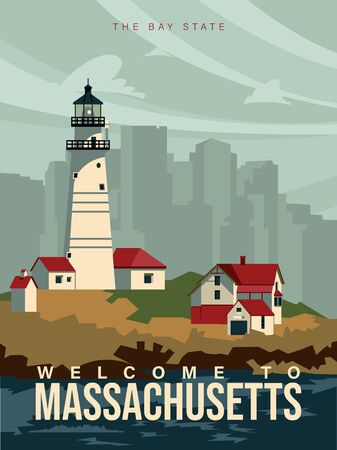 Massachusetts is on a tourist poster. Vintage lighthouse. The east state of the US. Boston area. Printable card for tourists in vintage and retro style Иллюстрация