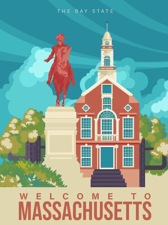 Massachusetts is on a tourist poster. Vintage lighthouse. The east state of the US. Boston area. Printable card for tourists in vintage and retro style 版權商用圖片 - 148694553