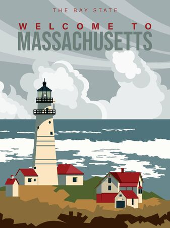 Massachusetts is on a tourist poster. Vintage lighthouse. The east state of the US. Boston area. Printable card for tourists in vintage and retro style Çizim