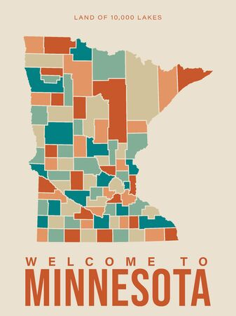 Minnesota tourist vector poster with landscapes, sightseeing in flat vintage style. Minneapolis on a card for tourists and decor. Map