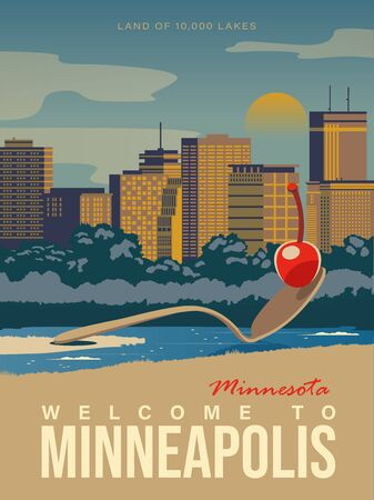 Minnesota tourist vector poster with landscapes, sightseeing in flat vintage style. Minneapolis on a card for tourists and decor. Map 版權商用圖片 - 149496991