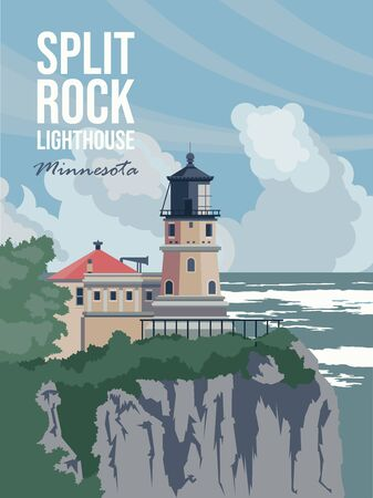 Minnesota tourist vector poster with landscapes, sightseeing in flat vintage style. Split Rock Lighthouse