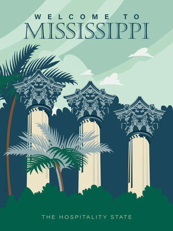 Mississippi sightseeings on a travel poster in vintage design with a retro palette