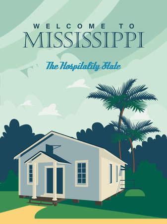 Mississippi sightseeings on a travel poster in vintage design with a retro palette Фото со стока - 151815411