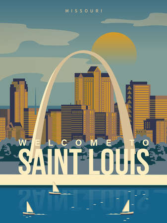 Welcome to Saint Louis, Missouri on a travel poster in vintage design with a retro palette 版權商用圖片 - 151815413