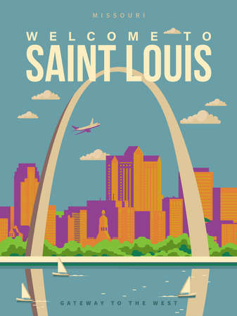 Welcome to Saint Louis, Missouri on a travel poster in vintage design with a retro palette 版權商用圖片 - 151815414