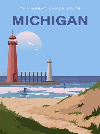 Michigan. The great lakes state. Touristic poster in vector Фото со стока - 154781652