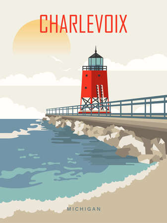 Michigan. The great lakes state. Touristic poster in vector Иллюстрация