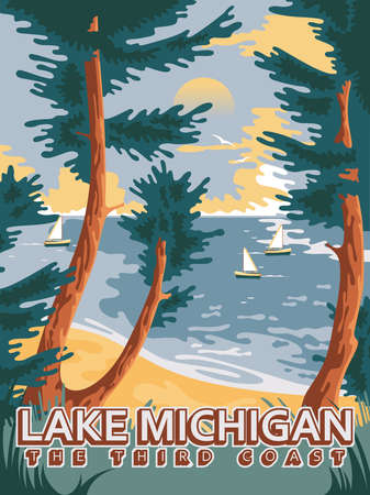 Michigan. The great lakes state. Touristic poster in vector 版權商用圖片 - 154781658