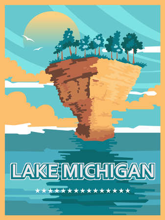 Michigan. The great lakes state. Touristic poster in vector Фото со стока - 154781660
