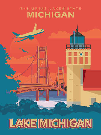 Michigan. The great lakes state. Touristic poster in vector