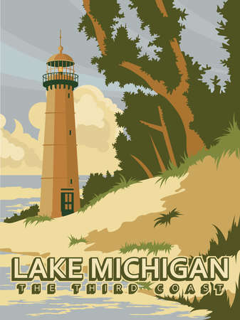 Michigan. The great lakes state. Touristic poster in vector Çizim