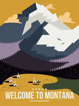 Montana state on a vector poster in retro style. American travel illustration 版權商用圖片 - 160765816