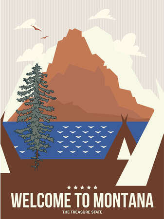 Montana state on a vector poster in retro style. American travel illustration 版權商用圖片 - 160765818